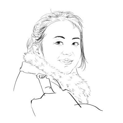 手绘素描女孩文艺