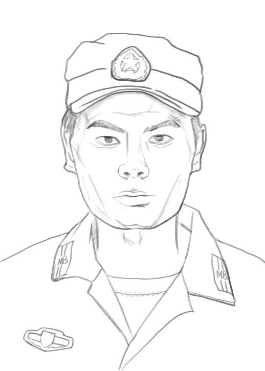 日本军服简笔画