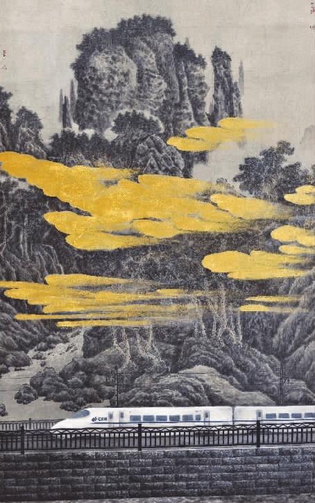 《高铁时代》与魏怀亮之前创作的《路上的风景》《穿越》《让》等画