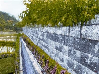 张鹏/图为长湘高速公路景观式挡墙。张鹏摄